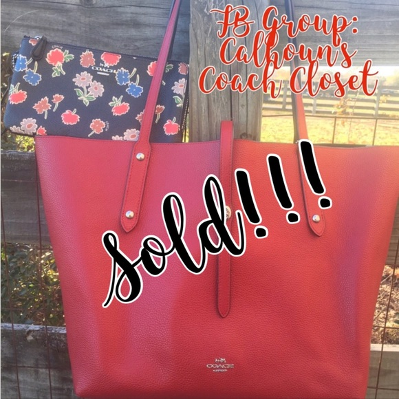 b79b7844b48 Coach Bags | Red Currant Floral Mix Market Tote Wallet | Poshmark